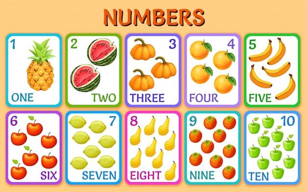 Vegetales y frutas. números de tarjetas de niños.
