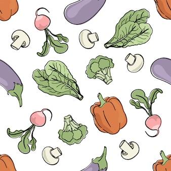 Vegetarian mix paleo seamless pattern