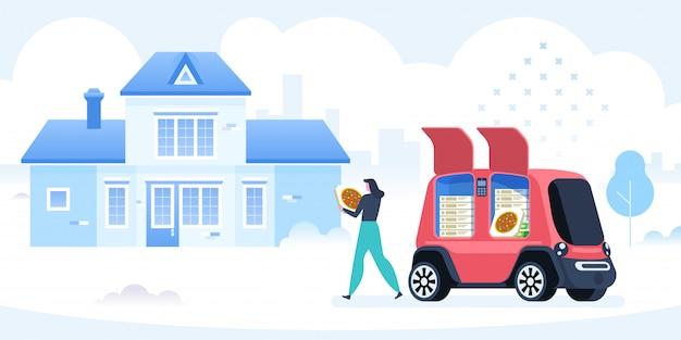 Vehículo auto conducido para repartir pizza.