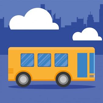 Vehículo de autobús en la ciudad