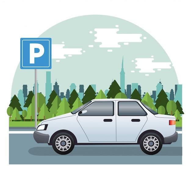 Vehículo de automóvil sedán blanco en la ilustración de la carretera