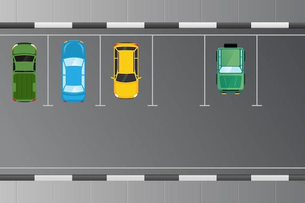 Vehículo de automóviles desde la vista superior en la ilustración del área de estacionamiento