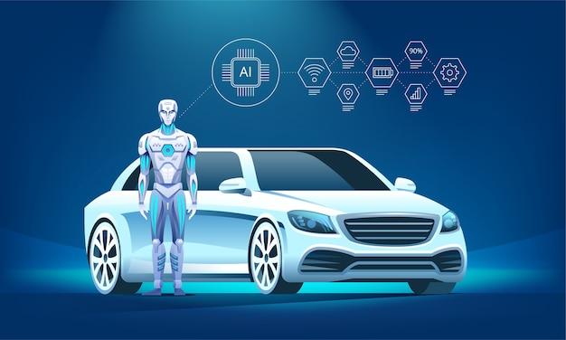 Vehículo autónomo de lujo con robot e iconos infográficos.