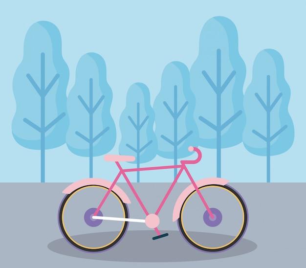 Vehículo de bicicleta en el icono de paisaje aislado