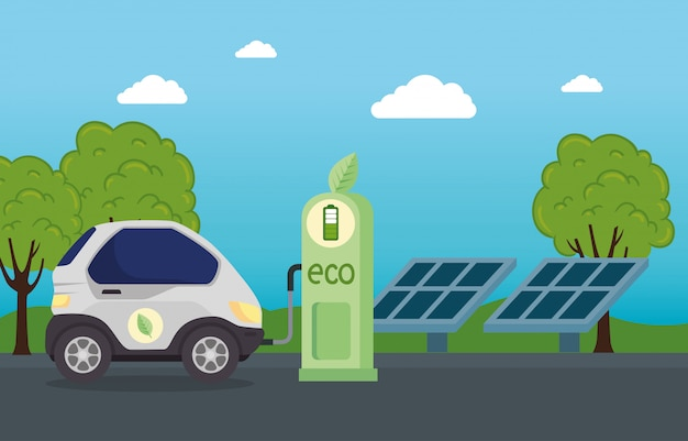Vehículo eléctrico en la estación de carga con paneles solares, diseño de ilustraciones vectoriales