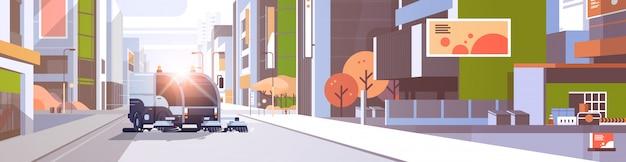 Vehículo industrial de camión de barrendero de calle de ciudad moderna