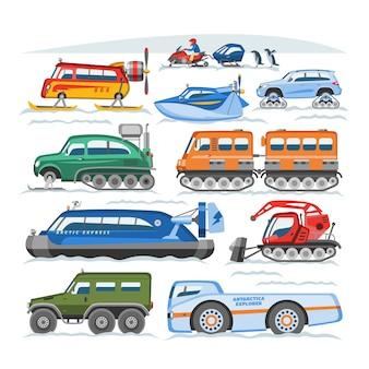 Vehículo de invierno de vector de camión de nieve o transporte de motos de nieve y conjunto de ilustración de transporte nevado de motos de nieve o quitanieves aislado sobre fondo blanco