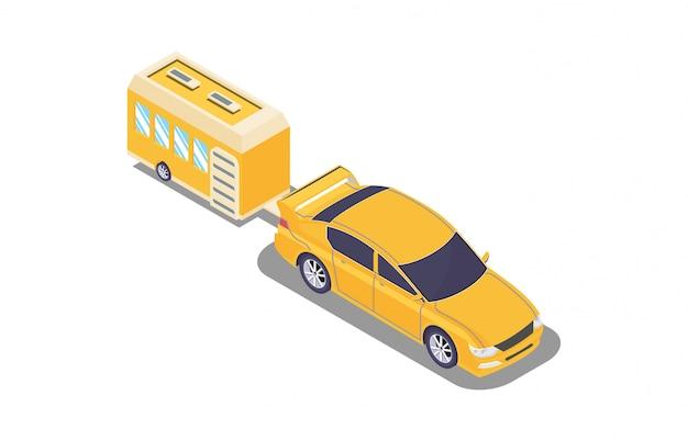 Vehículo de isometría con caravanas de camping.