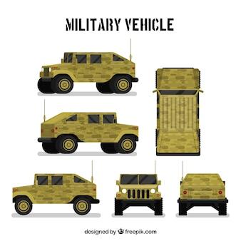 Vehículo militar en diferentes vistas