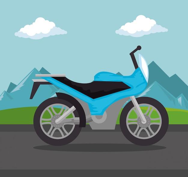 Vehículo de motocicleta en la escena del camino
