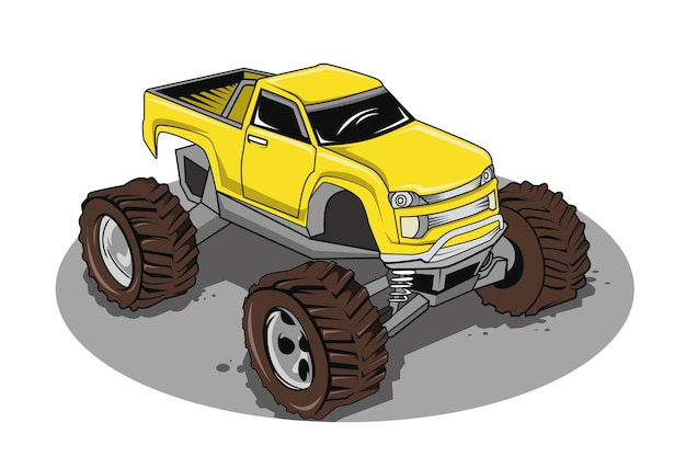 Vehículo o coche de dibujos animados de camión monstruo e ilustración de transporte de espectáculo extremo