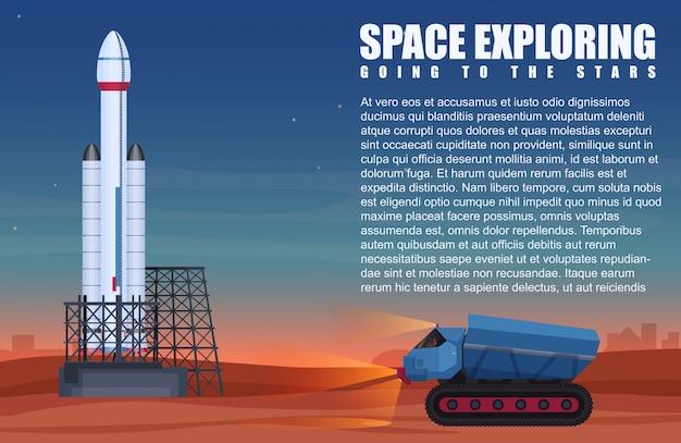 Vehículo pesado sobre y nave espacial preparada para comenzar.