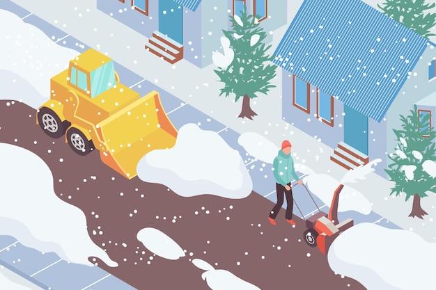 Vehículo de remoción de nieve y hombre limpiando la carretera frente a la casa isométrica 3d