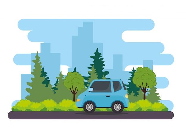Vehículo sedán azul en la carretera, con diseño de ilustración de vector de naturaleza de plantas de árbol