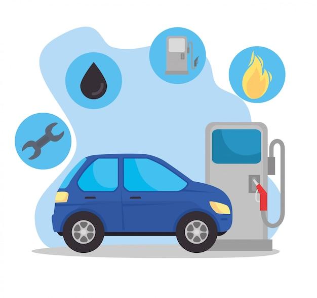 Vehículo sedán del coche en la estación de combustible con círculos de forma de diseño de ilustración de vector de combustible de aceite