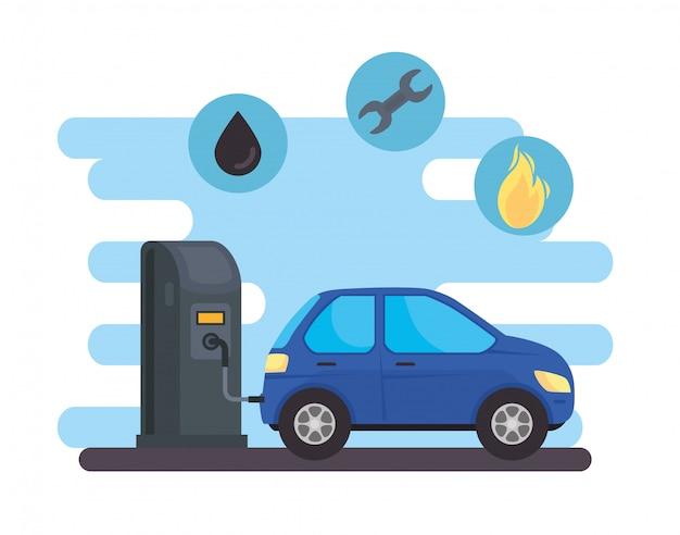 Vehículo sedán del coche en la estación de combustible con conjunto de diseño de ilustración de vector de combustible de aceite