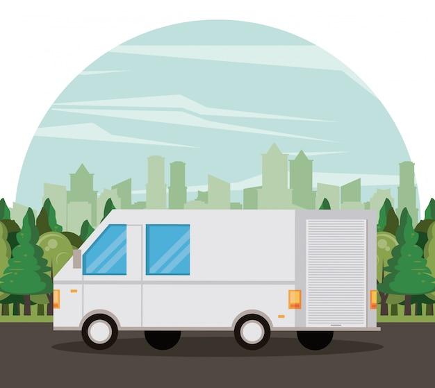 Vehículo de transporte van de dibujos animados.