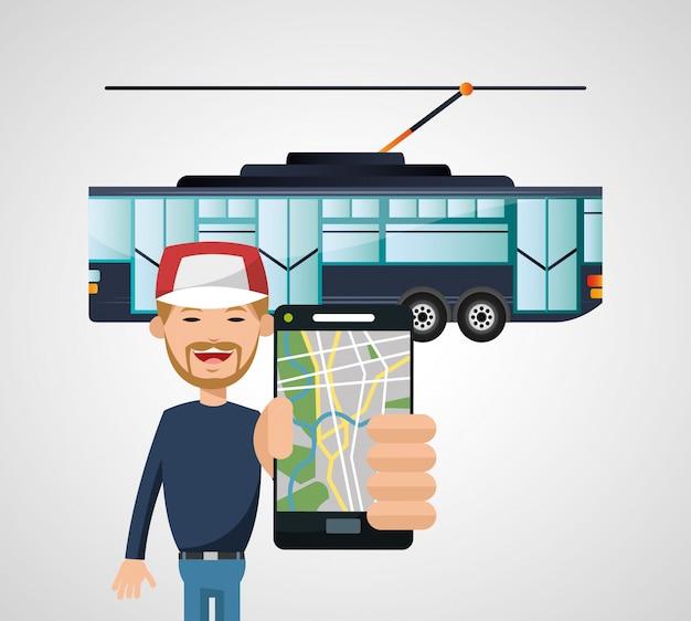 Vehículo de tranvía y transporte