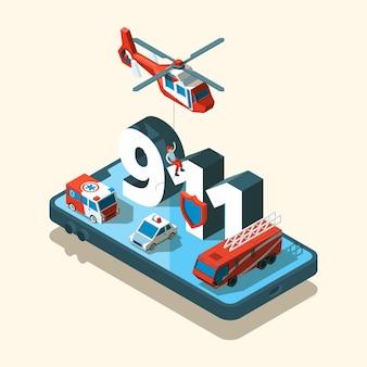 Vehículos de emergencia isométrica. seguridad, transporte urbano, atención al 911, llamada ambulancia, coche de policía.
