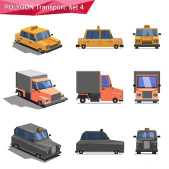 Vehículos de estilo poligonal establecen ilustraciones.