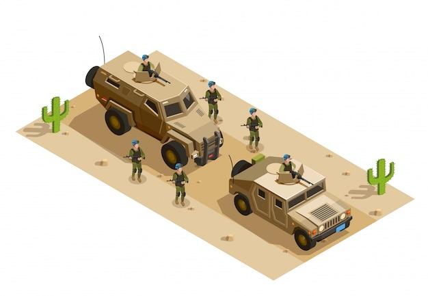 Vehículos militares del ejército isométricos.