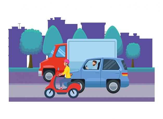Vehículos y motocicletas con conductores.