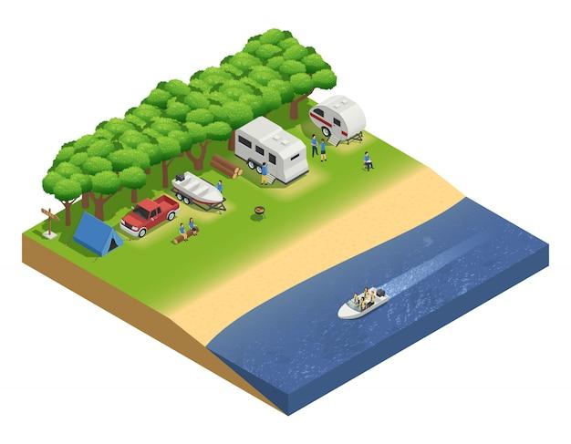 Vehículos recreativos en composición isométrica de playa con personas y barco.