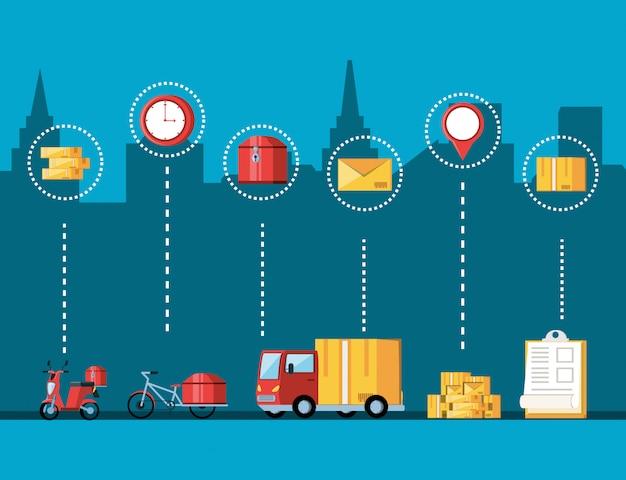 Vehículos y set de iconos para servicio logístico