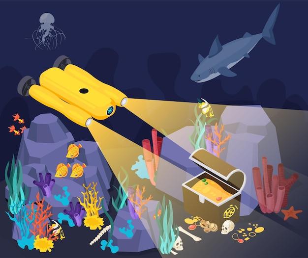 Vehículos submarinos máquinas composición isométrica máquina amarilla encontró un tesoro en el fondo del mar