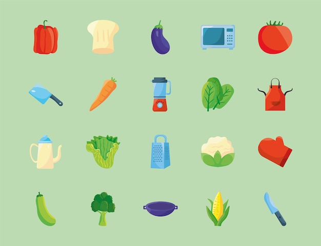 Veinte iconos de alimentos y utensilios