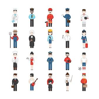 Veinte personajes de dibujos animados de diferentes profesiones.