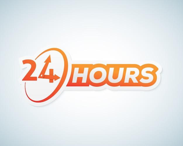 Veinticuatro horas de etiqueta abierta, letrero o plantilla de letrero.