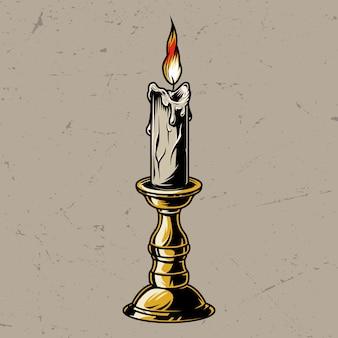 Vela ardiente colorida vintage en candelabro
