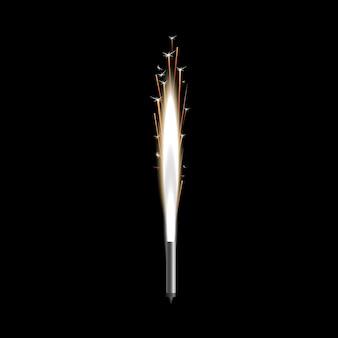 Vela de bengala brillando en la oscuridad