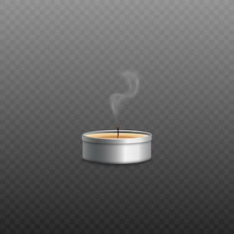 Vela candelita de cera amarilla en recipiente redondo de metal plateado con fuego expulsado de la mecha y solo queda un rastro de humo realista. ilustración