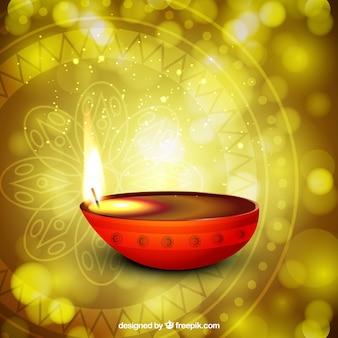 Vela de diwali sobre un fondo brillante