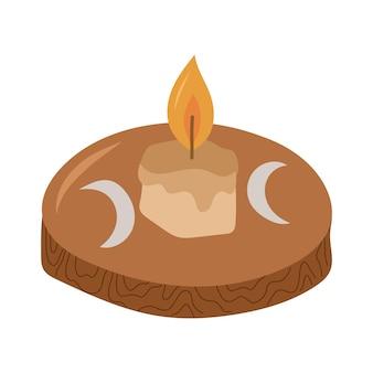 Vela encendida en candelabro de madera. elemento de diseño esotérico y místico ilustración de dibujado a mano de vector.