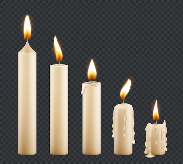 Vela encendida. etapas de combustión de cera decorativa vela ligera llama vector animación de fotogramas clave. ilustración luz de fuego de velas, cera y velas.