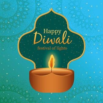 Vela feliz diwali con marco en azul con diseño de fondo de mandalas, tema festival de luces