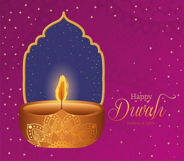 Vela feliz diwali con marco en rosa con diseño de fondo de mandalas, tema festival de luces