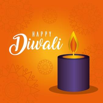Vela feliz diwali en naranja con diseño de fondo de mandalas, tema del festival de luces