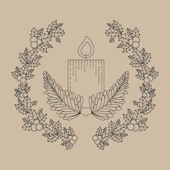 Vela interior ornamento y rústica hoja icono de la corona