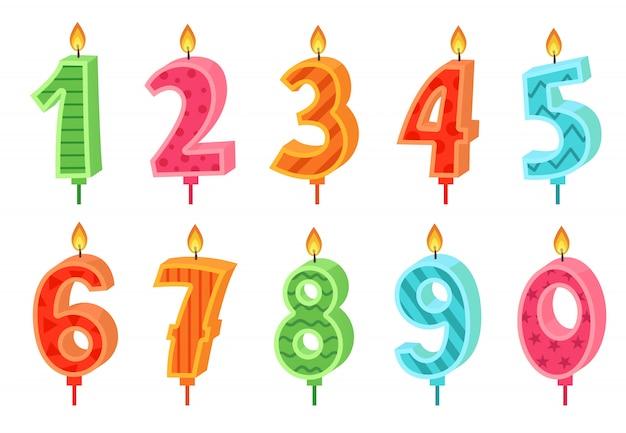 Vela de números de aniversario de dibujos animados. pastel de celebración velas encendidas luces, número de cumpleaños y conjunto de velas de fiesta