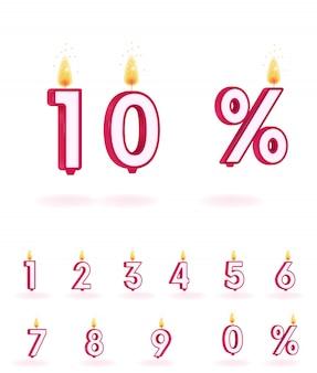 Vela números vector llama figura cumpleaños aislado