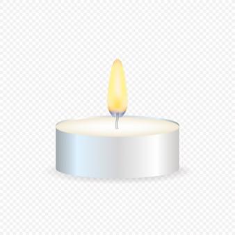 Vela de té o vela en una caja. luz de vela realista o llama de luz de té