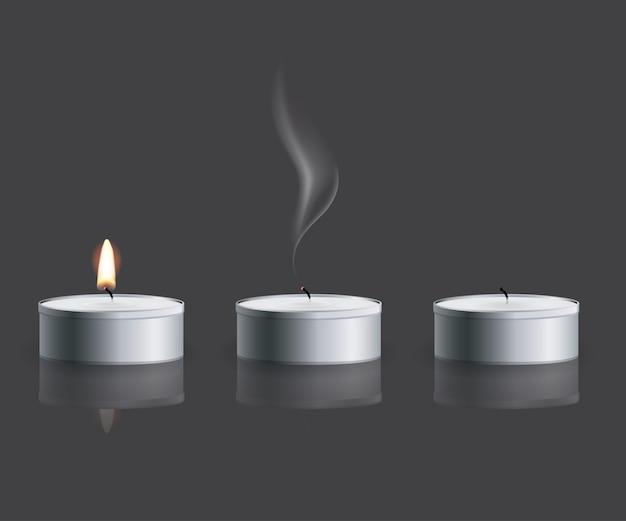 Vela de té realista con fuego, vela apagada con smog y el final de la vela sobre fondo gris.