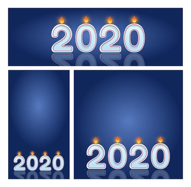 Velas 2020 conjunto de banners de celebración de año nuevo para tiendas y redes sociales.