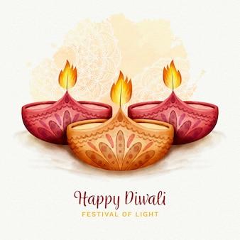 Velas de acuarela celebración de diwali