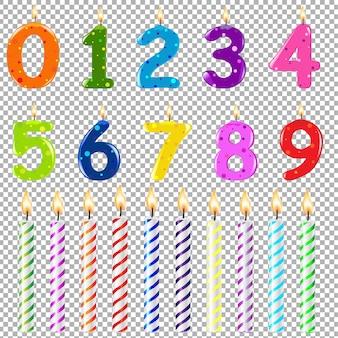 Velas de cumpleaños de diferentes formas, ilustración