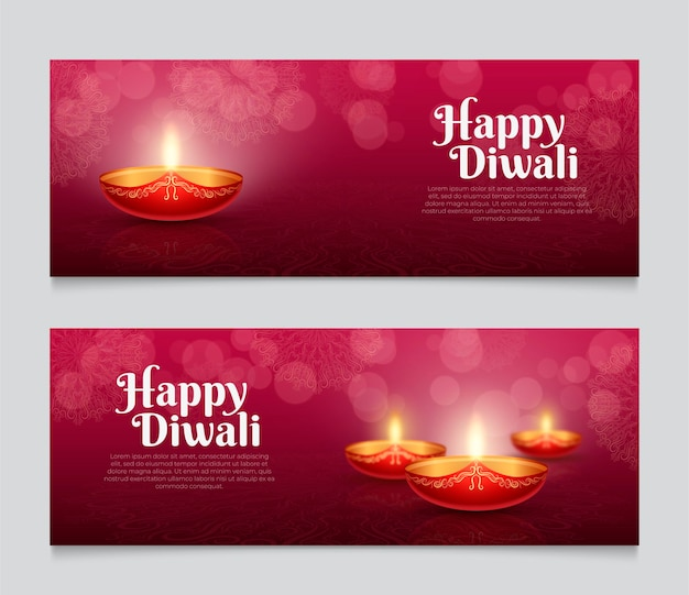 Velas de diwali de plantilla de banner web